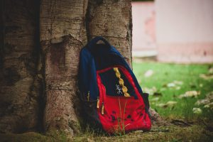 תיק בית ספר ליד עץ