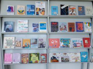 ספרים על מדפים לקראת שבוע הספר
